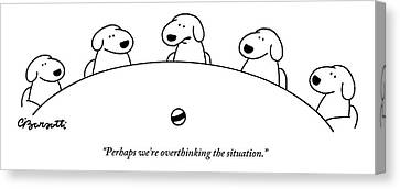 Prairie Dog Canvas Print - Five Dogs Sitting Around A Roundtable by Charles Barsotti