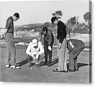 Five Golfers Looking At A Ball Canvas Print by Underwood Archives