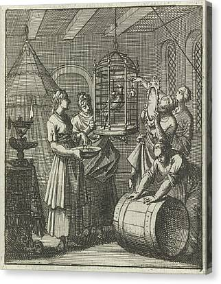 Five Handmaidens See A Magpie In A Cage, Aart Wolsgrein Jan Canvas Print by Aart Wolsgrein And Jan Luyken