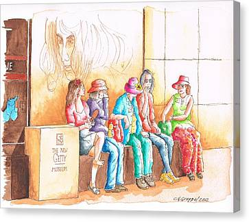 Five Ladies Talking About Art At The Getty Center Museum Los Angeles - California Canvas Print by Carlos G Groppa