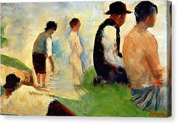 Clothed Canvas Print - Five Male Figures Possible Preparatory Sketch For The ''bathers At Asnieres.'' by Georges Pierre Seurat