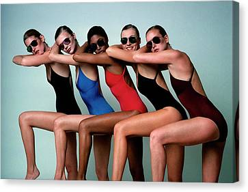 1977 Canvas Print - Five Models Wearing Bathing Suits by Alberto Rizzo