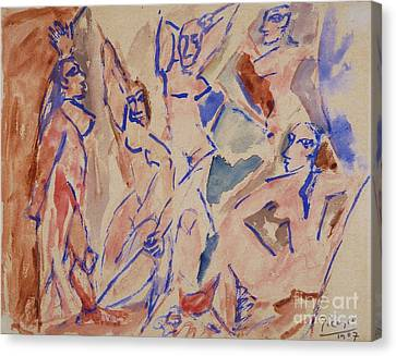 Five Nudes Study Canvas Print by Pg Reproductions