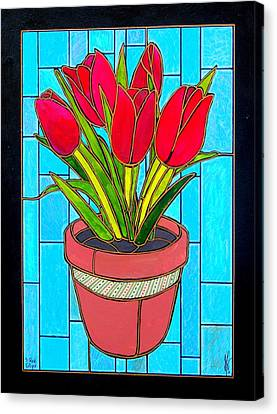 Five Red Tulips Canvas Print by Jim Harris