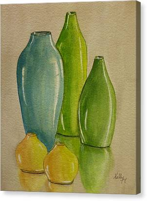 Five Vases Canvas Print by Kelly Mills