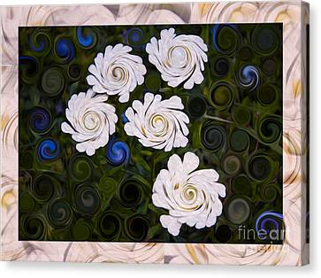 Five White Flowers In An Abstract Garden Canvas Print by Omaste Witkowski