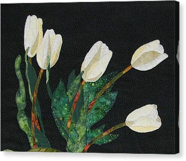 Five White Tulips  Canvas Print by Lynda K Boardman