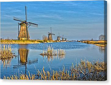 Five Windmills At Kinderdijk Canvas Print