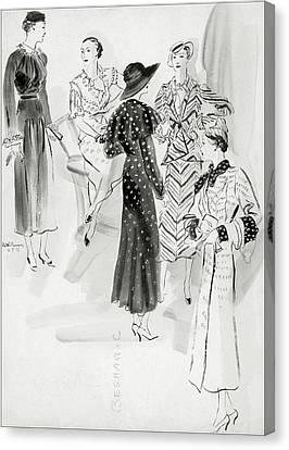 Five Women Wearing Chanel Canvas Print