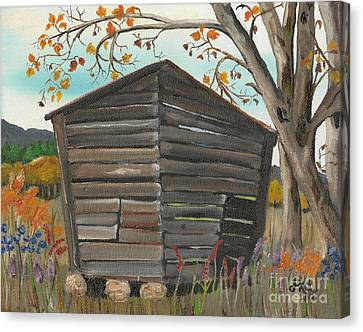 Canvas Print featuring the painting Autumn - Shack - Woodshed by Jan Dappen