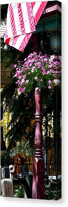 Flag And Flowers 6110 Pe Canvas Print by Jerry Sodorff