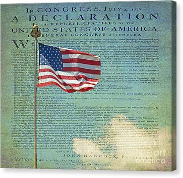Flag - Declaration Of Independence -  Luther Fine Art Canvas Print by Luther Fine Art