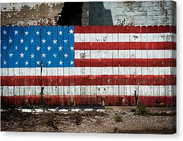 Flag Fence Canvas Print by Bud Simpson