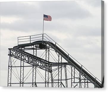 Flag Mounted On Seaside Heights Roller Coaster Canvas Print by Melinda Saminski