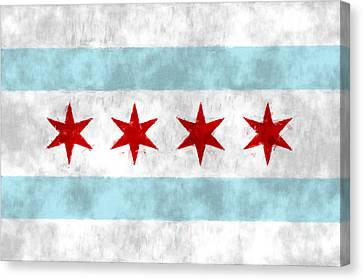 Flag Of Chicago Canvas Print by World Art Prints And Designs