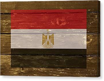 Egypt National Flag On Wood Canvas Print