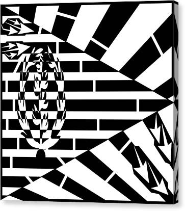 Flag Of Eritrea Maze Canvas Print by Yonatan Frimer Maze Artist