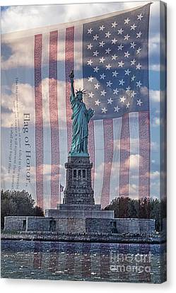 Liberty And Flag Of Honor Canvas Print by Priscilla Burgers