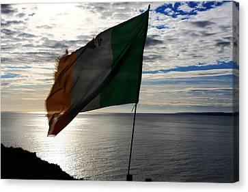 Flag Of Ireland At The Cliffs Canvas Print by Aidan Moran