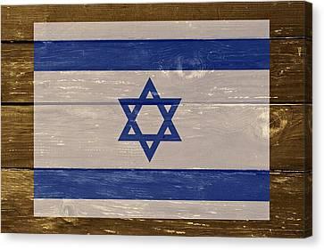 Israel National Flag On Wood Canvas Print