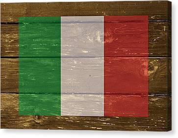 Italy National Flag On Wood Canvas Print