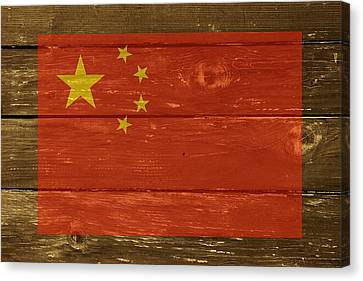 China National Flag On Wood Canvas Print by Movie Poster Prints