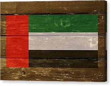 United Arab Emirates Flag On Wood Canvas Print