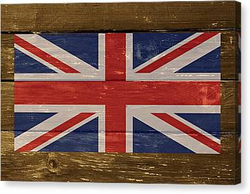 United Kingdom Flag On Wood Canvas Print by Movie Poster Prints