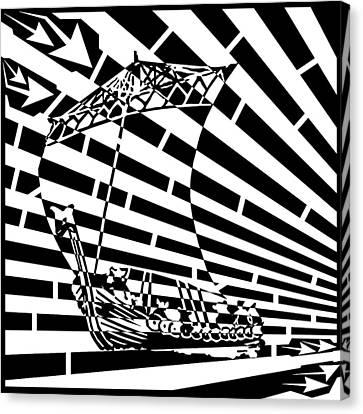 Flag Of Tynwald Maze Aka Isle Of Man Parliament Canvas Print by Yonatan Frimer Maze Artist