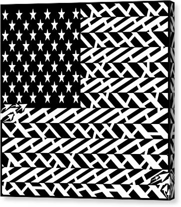 Flag Of Usa Maze Canvas Print by Yonatan Frimer Maze Artist