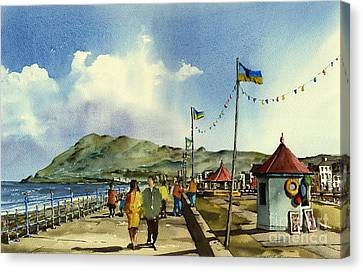 Flag Poles On Bray Prom Wicklow Canvas Print