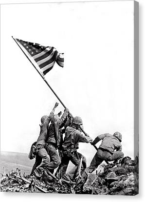 Flag Raising At Iwo Jima Canvas Print by Underwood Archives