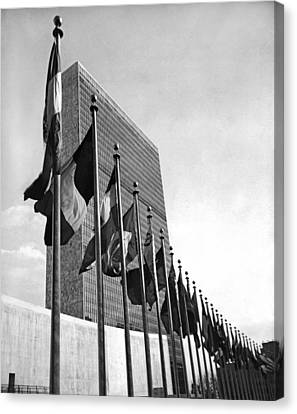 Flags Flying At United Nations Canvas Print by Underwood Archives