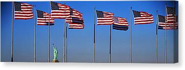 Flags New York Ny Canvas Print by Panoramic Images
