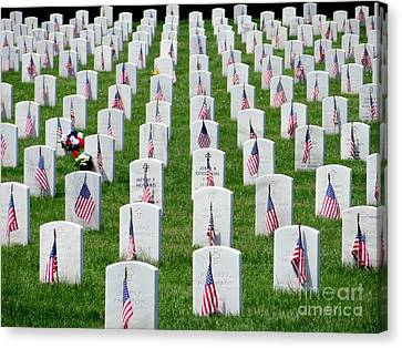 Canvas Print featuring the photograph Flags Of Honor by Ed Weidman