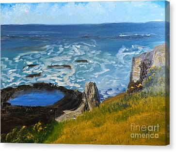 Canvas Print featuring the painting Flagstaff Point  by Pamela  Meredith