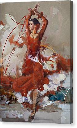Ballet Dancers Canvas Print - Flamenco 37 by Maryam Mughal