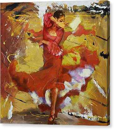 Ballet Dancers Canvas Print - Flamenco 44 by Maryam Mughal