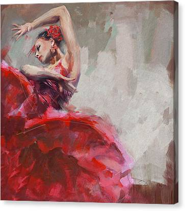 Ballet Dancers Canvas Print - Flamenco 53 by Maryam Mughal