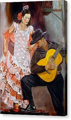 Canvas Print featuring the painting Flamenco Charm by Rick Fitzsimons
