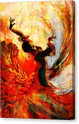 Dancer Canvas Print - Flamenco Dancer 021 by Mahnoor Shah