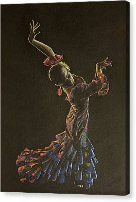 Flamenco Dancer In Flowered Dress Canvas Print by Martin Howard