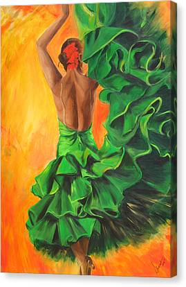 Canvas Print featuring the painting Flamenco Dancer In Green Dress by Sheri  Chakamian