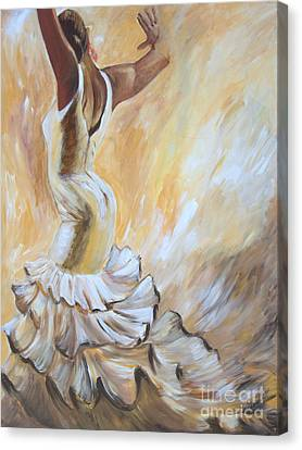 Canvas Print featuring the painting Flamenco Dancer In White Dress by Sheri  Chakamian
