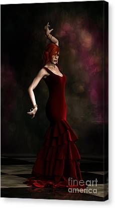 Flamenco Dancer Red Canvas Print by Shanina Conway
