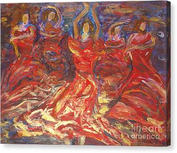 Canvas Print featuring the painting Flamenco Dancers by Fereshteh Stoecklein