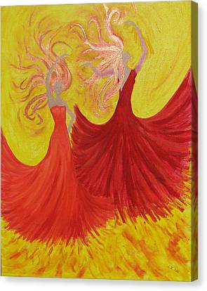 Canvas Print featuring the painting Flamenco by Stephanie Grant