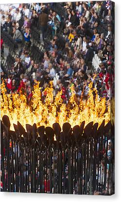 Flames Of Olympic Cauldron Designed By Canvas Print by Ian Cumming
