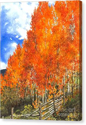 Flaming Aspens Canvas Print by Barbara Jewell