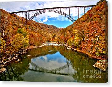 Flaming Fall Foliage At New River Gorge Canvas Print by Adam Jewell